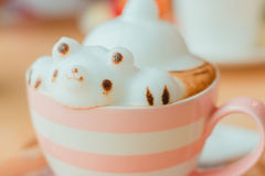 Coffee cup. Frothed milk teddy bear 3D art Royalty Free Stock Photography