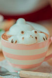 Coffee cup. Frothed milk teddy bear 3D art Stock Images