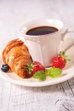 Coffee cup and fruits Royalty Free Stock Photography