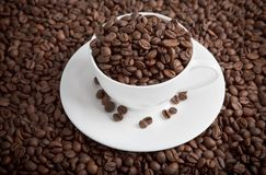 Coffee cup full of beans Stock Photo