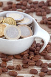 Coffee cup full of Euro coins Royalty Free Stock Photos