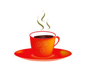 Coffee cup. Fully illustration action vector colour red dark brown and yellow is mesh tool selection Stock Photo