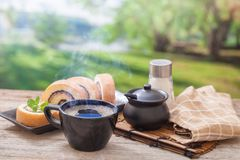 Morning coffee with cake roll stock images
