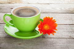 Coffee cup and gerbera flower Royalty Free Stock Image