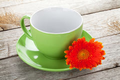 Coffee cup and gerbera Royalty Free Stock Photography