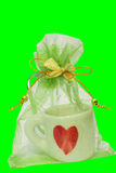 Coffee Cup gift bag tied with ribbon. Stock Photography