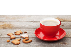Coffee cup and gingerbread cookies Stock Image