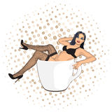 Coffee cup girl Royalty Free Stock Photography