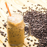 Coffee in a cup glass on table wooden. Coffee in a cup glass royalty free stock photos