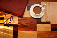 Coffee cup with glasses on table retro vintage Royalty Free Stock Photo