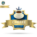 Coffee cup on Gold color label with background royalty free illustration