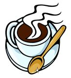 Coffee cup, with golden spoon Stock Image