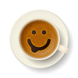 Coffee cup for good mood. Coffee cup with funny smiling face on frothy surface. Good mood and vivacity for active day Stock Images