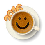 Coffee cup for good mood in New Year 2016 Stock Photos
