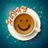 Coffee cup for good mood in New Year 2017 Stock Photo