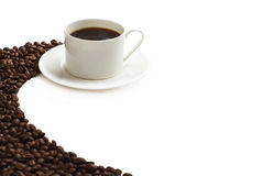 Coffee cup and grain Royalty Free Stock Photos