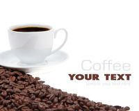 Coffee cup and grain Stock Photography