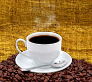 Coffee cup and grain stock photos