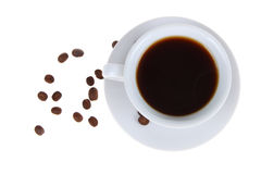 Coffee cup and grains Stock Images