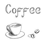 Coffee cup graphic art black white illustration Stock Photography