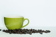 Coffee cup green and beans Stock Photo