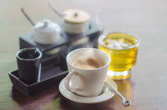 Coffee Cup and Green tea On Table Stock Photo