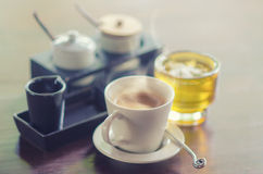 Coffee Cup and Green tea On Table Stock Images