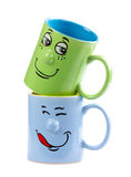 Coffee cup with a grin. Colorful isolated coffee cup with a grin Stock Photography