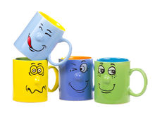 Coffee cup with a grin Royalty Free Stock Images