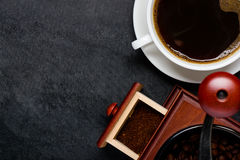 Coffee Cup With Grinder and Copy Space stock photo