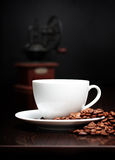 Coffee cup, grinder and grain Stock Photography