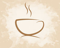 Coffee cup grunge style. Coffee cup icon design in sepia color style Royalty Free Stock Images