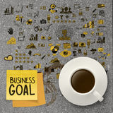 Coffee cup with hand drawn business goal strategy Royalty Free Stock Photo