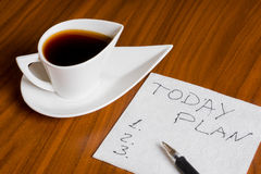 Coffee cup with handwriting today plan on napkin Royalty Free Stock Photography