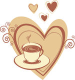 Coffee cup with heart Stock Image