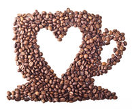 Coffee Cup with heart. From Coffee beans on white isolated background Royalty Free Stock Photography