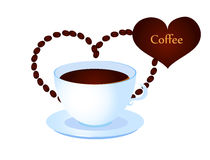 Coffee cup with heart from coffee beans Stock Photo