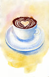 Coffee cup with heart foam on pastel yellow Royalty Free Stock Images
