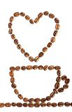 Coffee cup with heart made of beans Stock Photo