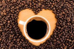 Coffee cup in heart Royalty Free Stock Photos