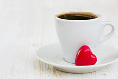 Coffee cup and heart Royalty Free Stock Images