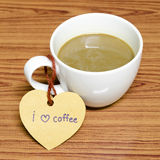 Coffee cup with heart tag write I love coffee word Stock Image