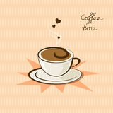 Coffee cup and hearts Stock Images