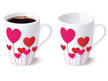 Coffee cup with hearts, . Stock Image