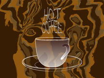Coffee cup with Hot Coffee steam words Royalty Free Stock Photos