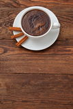Coffee. A cup of hot coffee with a hint of cinnamon each day in the morning to awaken the best Stock Photo