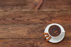 Coffee. A cup of hot coffee with a hint of cinnamon each day in the morning to awaken the best Stock Images