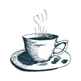Coffee cup, hot morning coffee Hand Drawn Sketch Vector illustration. Royalty Free Stock Image