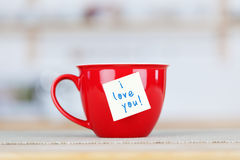 Coffee Cup With I Love You Tag Stock Photo