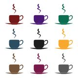 Coffee cup icon in black style isolated on white background. Restaurant symbol stock vector illustration. Royalty Free Stock Photo
